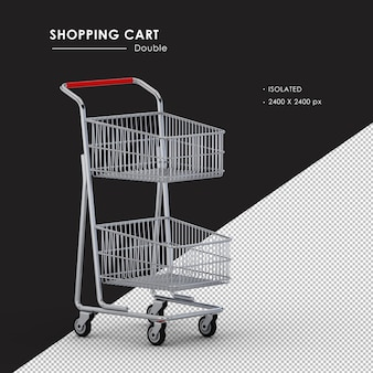 Isolated double metal shopping cart right front view