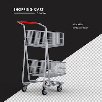 Isolated double metal shopping cart right rear view