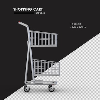 Isolated double metal shopping cart right side view