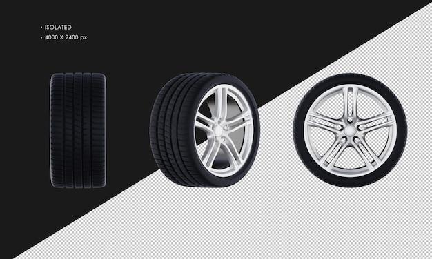 Isolated elegan sport car wheel rim and tire