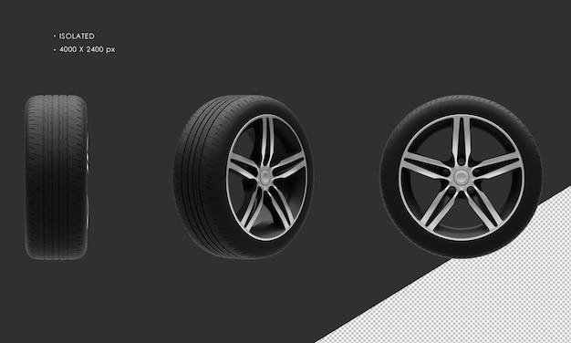 分離されたエレガントなスポーツシティカーブラックとグレーのクロームカーホイールリムとタイヤ