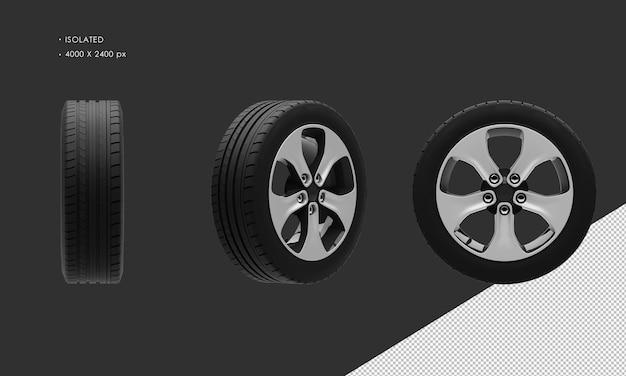 分離されたエレガントなスポーツシティsuv車の黒と灰色のクロームホイールリムとタイヤ
