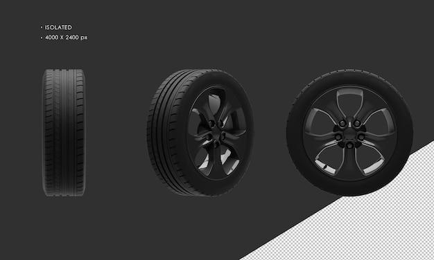 分離されたエレガントなスポーツシティsuv車ダーククロームホイールリムとタイヤ