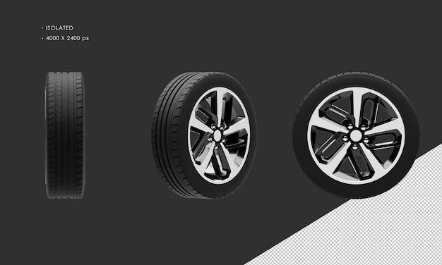 分離されたエレガントなスポーツセダンシティカーブラックとグレーのクロームホイールリムとタイヤ