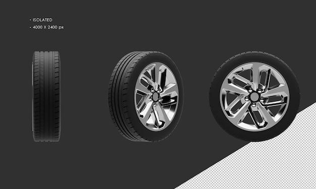 分離されたエレガントなスポーツセダンシティカーグレークロームホイールリムとタイヤ