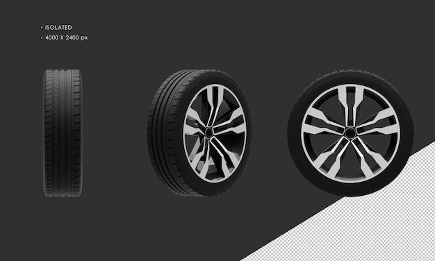 分離されたエレガントなスポーツsuvモダンシティカーブラックとグレーのクロームホイールリムとタイヤ