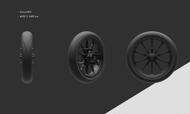 分離されたグランドモーターサイクルバイクダーククロームフロントホイールリムとタイヤ