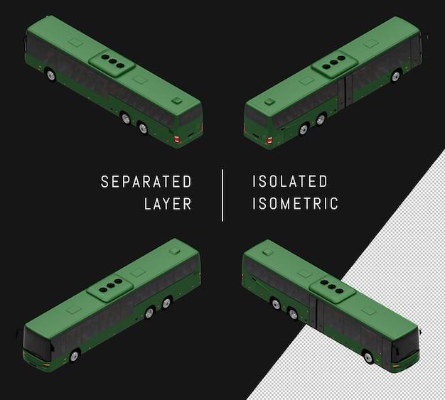 고립 된 녹색 도시 버스 아이소메트릭 차량 세트