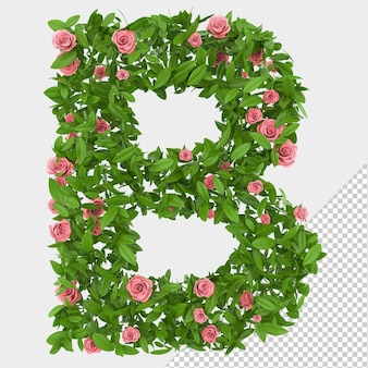 Isolated green leaves and roses 3d letter b