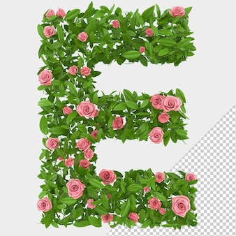 Isolated green leaves and roses 3d letter e