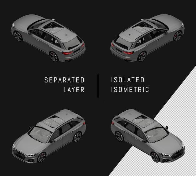 격리 된 회색 현대 도시 스포츠 자동차 아이소메트릭 자동차 세트