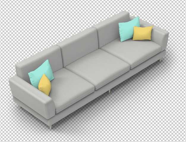 Isolated grey sofa and colorful pillows