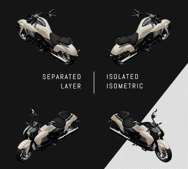 孤立したグレースポーツグランドモーターサイクルアイソメトリックバイクセット
