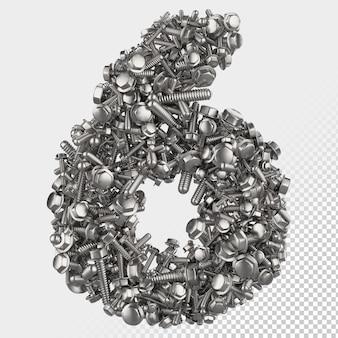 Изолированные болт с шестигранной головкой 3d визуализации письмо 6