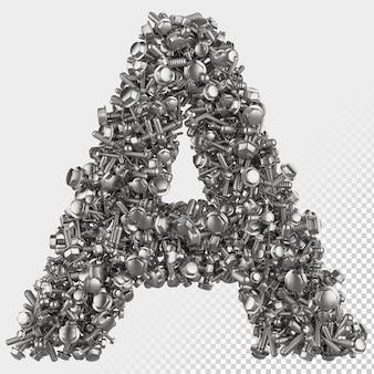 Изолированные болт с шестигранной головкой 3d визуализации буква a