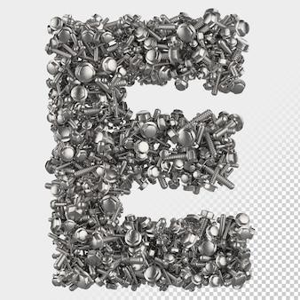 Изолированные болт с шестигранной головкой 3d визуализации буква e