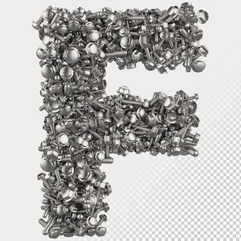 Изолированные болт с шестигранной головкой 3d визуализации буква f