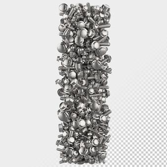 Изолированные болт с шестигранной головкой 3d визуализации буква i