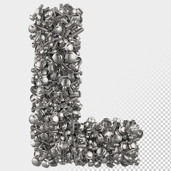 Изолированные болт с шестигранной головкой 3d визуализации буква l