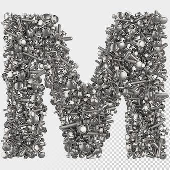 Изолированные болт с шестигранной головкой 3d визуализации буква m