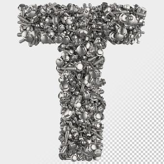 Изолированные болт с шестигранной головкой 3d визуализации буква t
