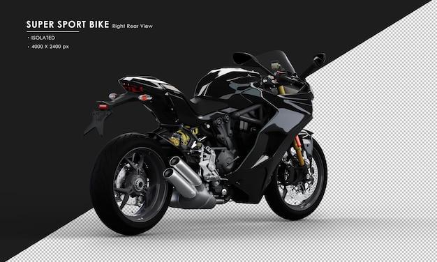 右リアビューから分離されたジェットブラックスーパースポーツバイク