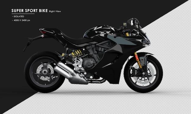 右側面図から分離されたジェットブラックスーパースポーツバイク