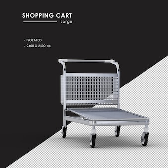 Isolated large metal shopping cart from front right view angle