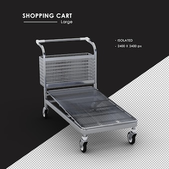 Isolated large metal shopping cart from top right view angle