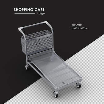 Isolated large metal shopping cart from top view angle