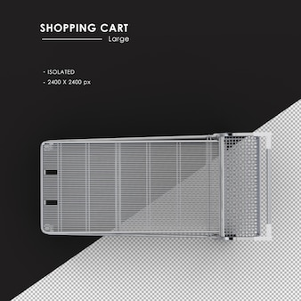 Isolated large metal shopping cart from top view