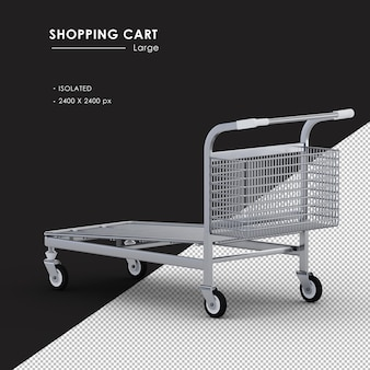 Isolated large metal shopping cart left rear view