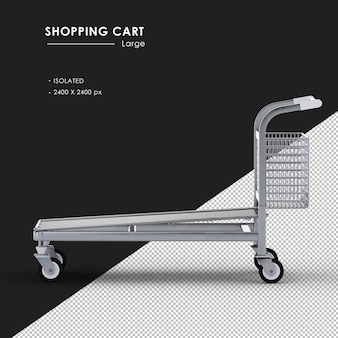 Isolated large metal shopping cart left side view