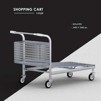 Isolated large metal shopping cart right rear view