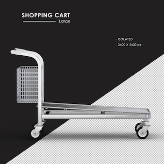 Isolated large metal shopping cart right side view