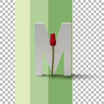 Изолированные письмо с красной розой