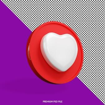 Изолированные любовь минималистский 3d значок кнопки значок