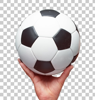 Isolated male hand holding a dsoccer ball