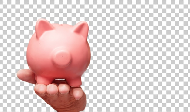 Isolated male hand holding a piggy bank