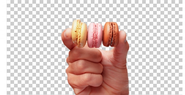 Isolated male hand holding sweet bisquits