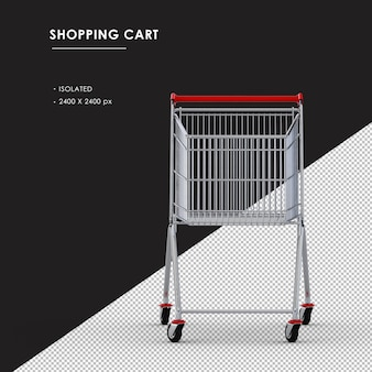 Isolated metal shopping cart from front view
