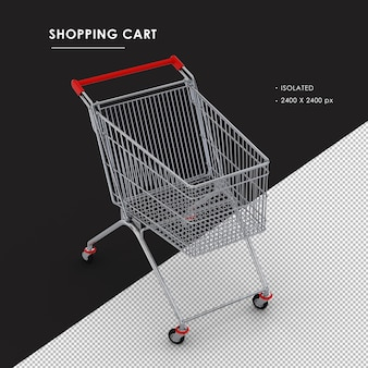Isolated metal shopping cart from top view angle