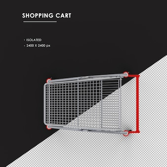 Isolated metal shopping cart from top view