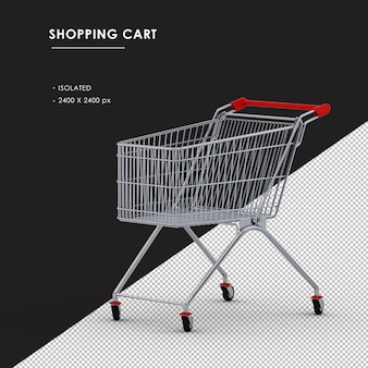 Isolated metal shopping cart left front view