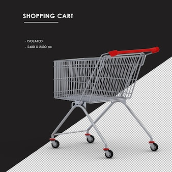 Isolated metal shopping cart left rear view
