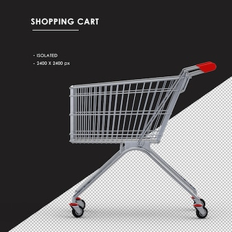 Isolated metal shopping cart left side view
