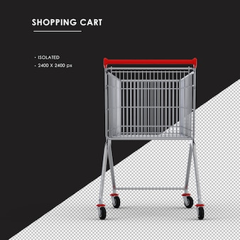 Isolated metal shopping cart rear view