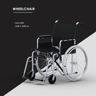 Isolated metal wheelchair from left front view