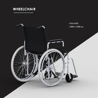 Isolated metal wheelchair from right rear view