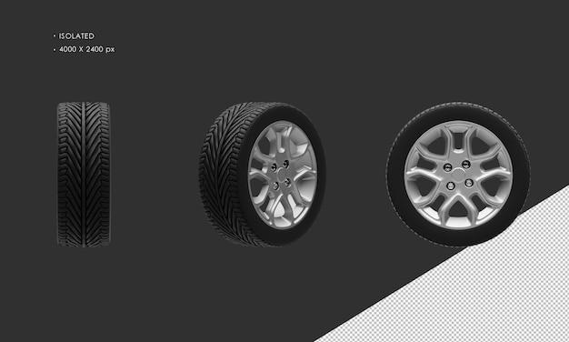 孤立したモダンシティスポーツカーグレークロームカーホイールリムとタイヤ